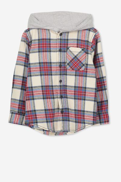 Harrison Hooded Long Sleeve Shirt, VINTAGE VANILLA CHECK