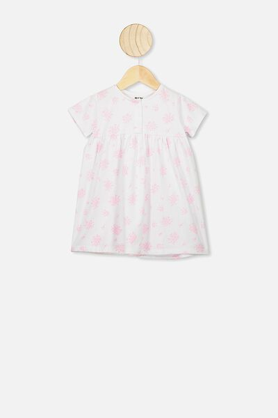 Milly Short Sleeve Dress, WHITE/OLIVIA CALI PINK FLORAL
