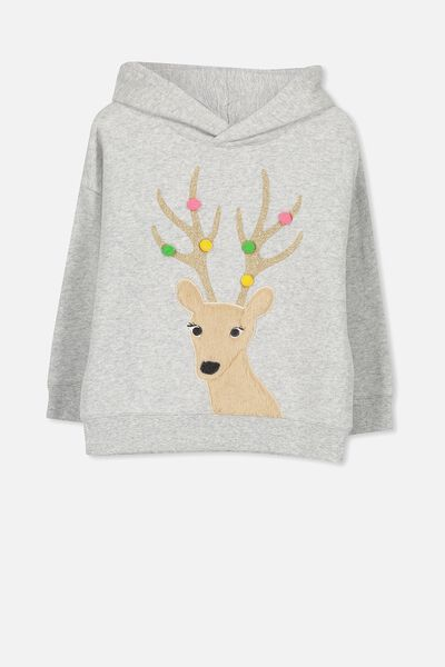 Scarlett Hoodie, LIGHT GREY MARLE PARTY REINDEER/DROP SHOULDER