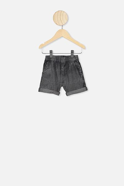 Domenic Denim Wash Short, BLACK WASH