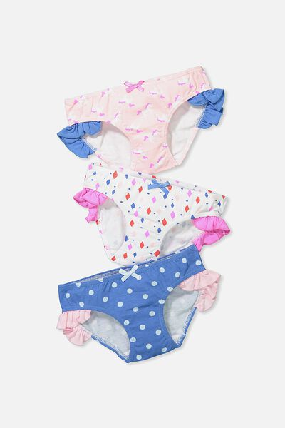 Girls Ruffle Undie Pack, DIAMONDS AND UNICORNS MIX