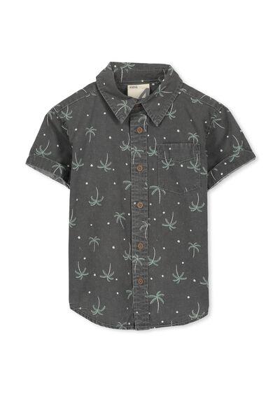 Jackson S/Slv Shirt, WASHED GRAPHITE/PALM TREES