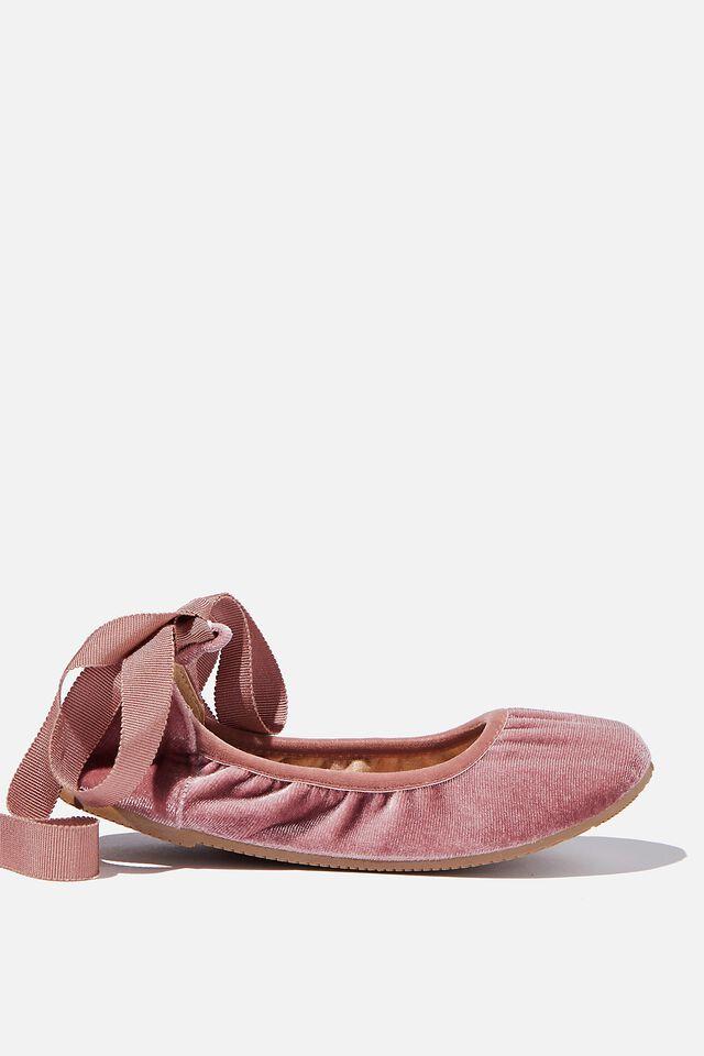 Primo Ballet Flat, CLAY PIDGEON VELVET RIBBON