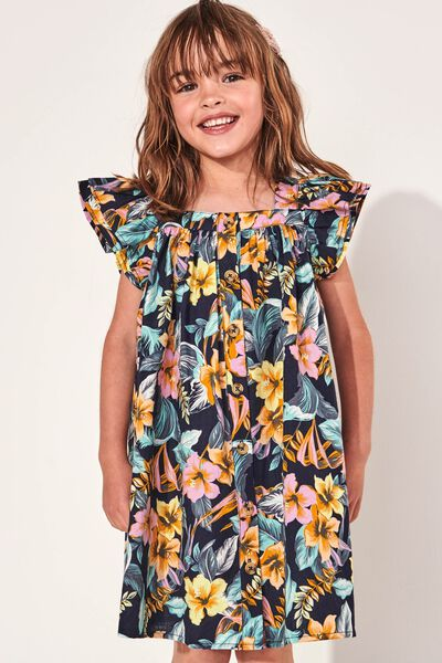 Polly Placket Dress, TROPICAL FLORAL