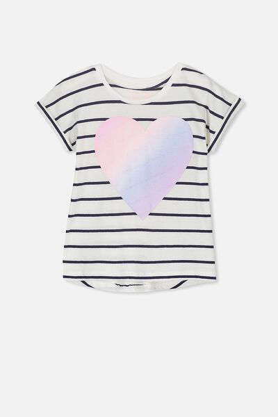 Penelope Short Sleeve Tee, STRIPE RAINBOW HEART/DROP SHOULDER