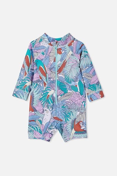 Cameron Long Sleeve Swimsuit, DREAM BLUE/TROPICAL BIRD PARTY