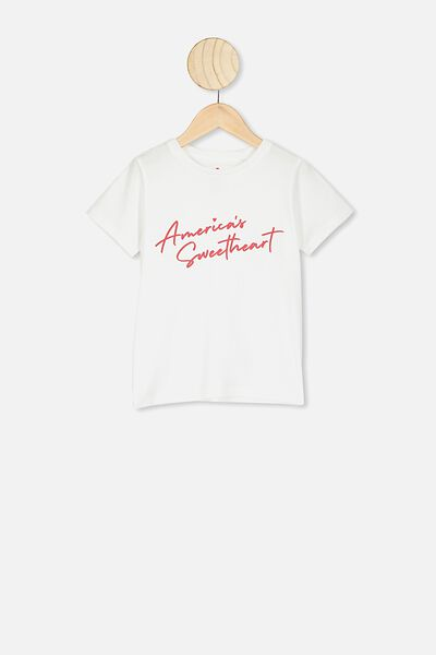 Penelope Short Sleeve Tee, WHITE/AMERICAN SWEETHEART