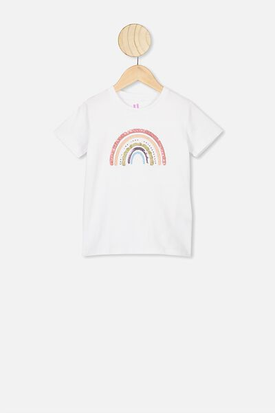 Stevie Ss Embellished Tee, WHITE/SPARKLE RAINBOW