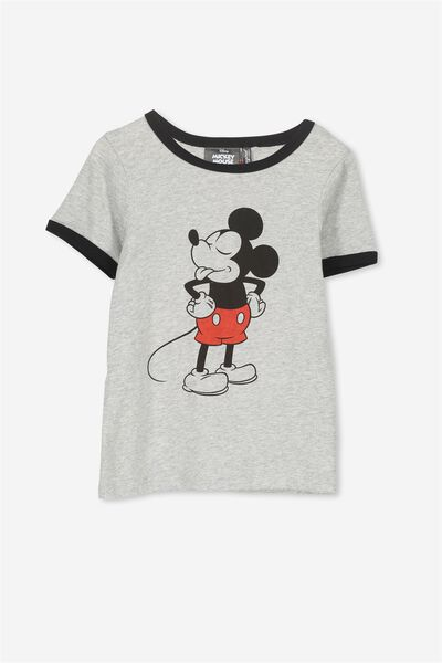 Lux Short Sleeve Tee, LIGHT GREY MARLE/CHEEKY MICKEY