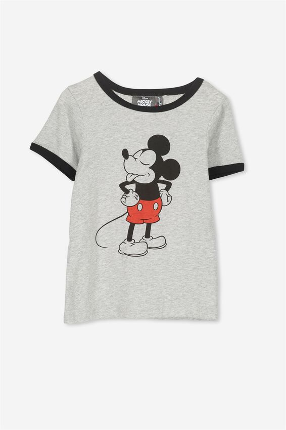 Mickey Mouse Grey Ringer Tee, LIGHT GREY MARLE/CHEEKY MICKEY