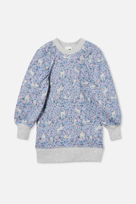 Molly Long Sleeve Dress, SUMMER GREY MARLE/BLUE UNICORN GARDEN