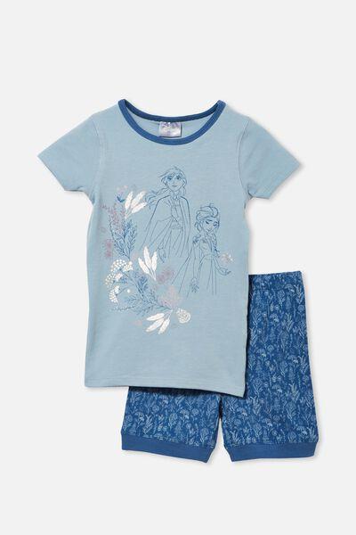 Nikki Short Sleeve Pyjama Set Licensed, LCN DIS FROZEN FLORAL/DUSTY BLUE