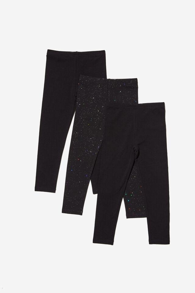 Girls Multipack Legging 3 Pack, BLACK/BLACK HOLOGRAPHIC BUNDLE