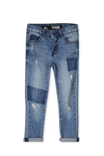 Riley Patch Jean, DOUBLE RIPPED BLUE