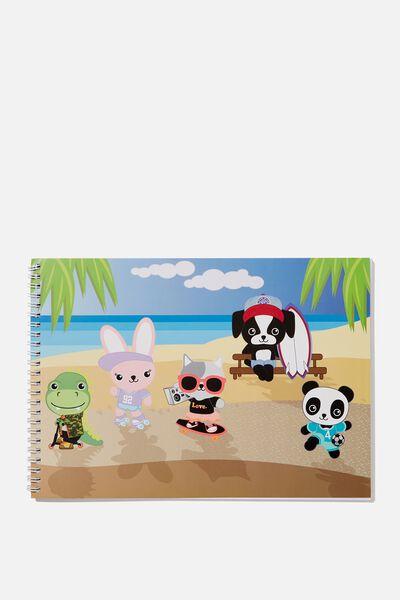 Sunny Buddy A4 Sketch Book, BEACH BUDDIES