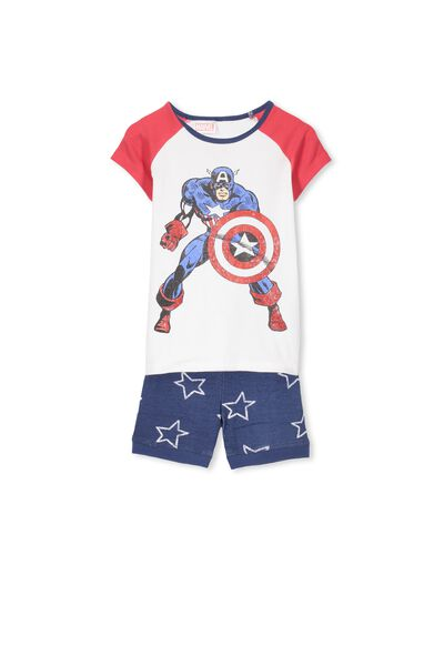 Angus Short Sleeve Pj Set, CAPTAIN AMERICA STARS