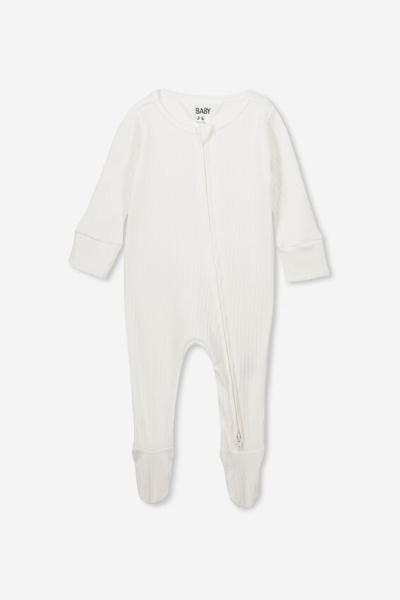 Newborn Zip Through Romper, MILK