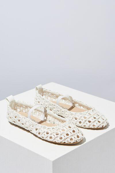 Ballet Flats, WHITE