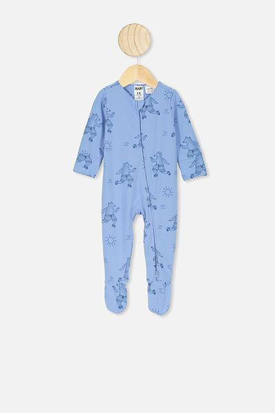 The Long Sleeve Zip Romper, POWDER PUFF BLUE SUMMER SKATING BEAR