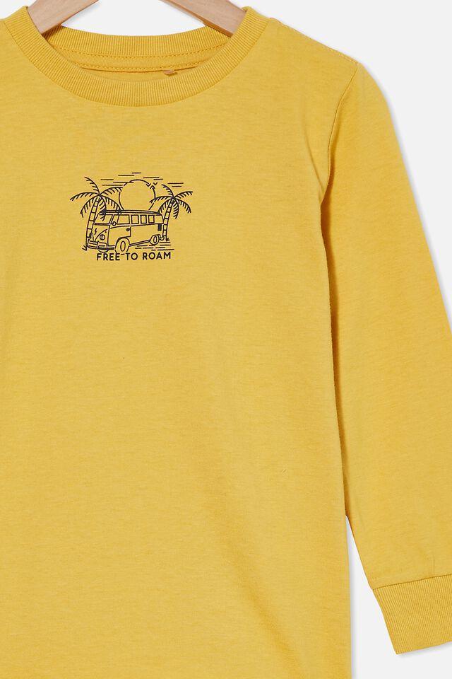 Max Long Sleeve Tee, HONEY GOLD/FREE TO ROAM