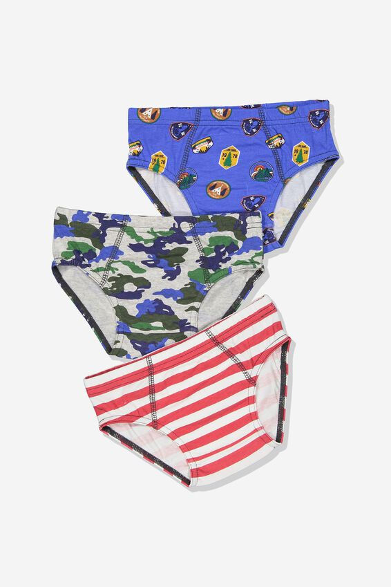 Boys 3pk Brief Underwear, OUTDOORS MIX