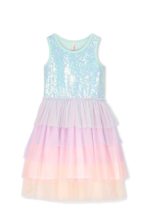 Iris Tulle Dress, SEAGLASS SEQUIN/RAINBOW
