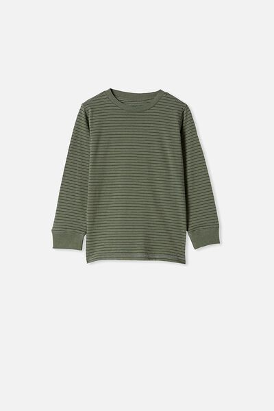 Core Long Sleeve Tee, SWAG GREEN/ PHANTOM STRIPE