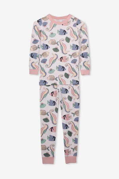 Lila Long Sleeve Pyjama Set, FLOATING SEAHORSE/WHITE