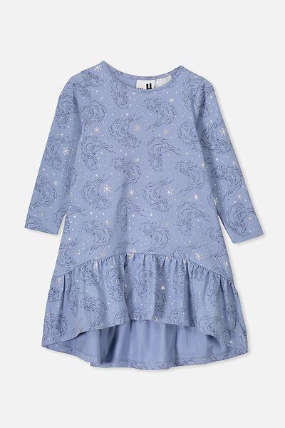 Joss Long Sleeve Dress, LCN DIS DUSTY BLUE/FROZEN WATERHORSE