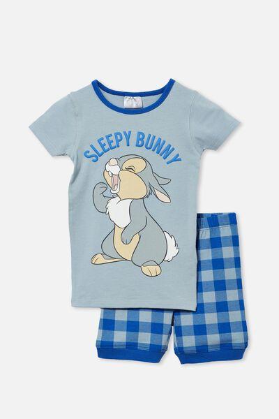 Ted Short Sleeve Pyjama Set Licensed, LCN DIS THUMPER SLEEPY BUNNY/DUSTY BLUE