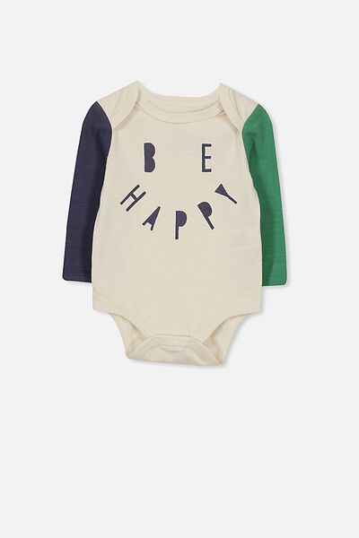 Mini Long Sleeve Bubby, VANILLA/BE HAPPY_XO
