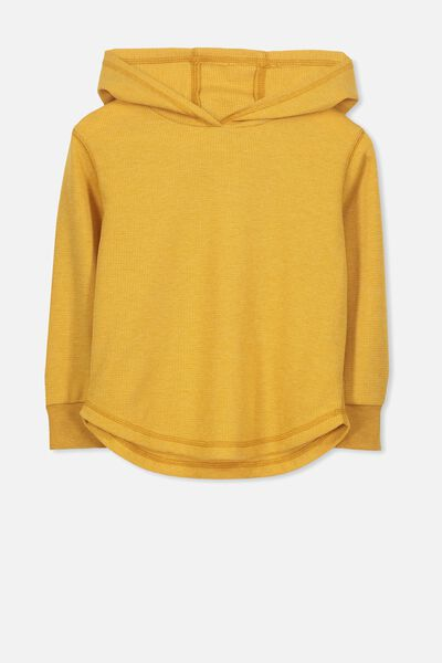 Hooded Long Sleeve Waffle Tee GOLDEN GLOW MARLE