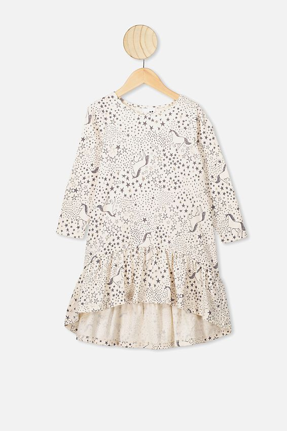 Joss Long Sleeve Dress, DARK VANILLA/STARRY UNICORN