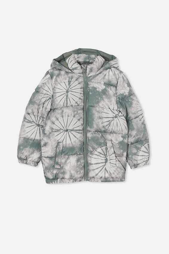 Frankie Puffer Jacket, SWAG GREEN TIE DYE
