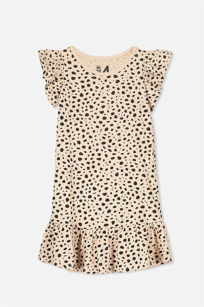 Ella Short Sleeve Dress, CAMEO ROSE/LEOPARD SPOT