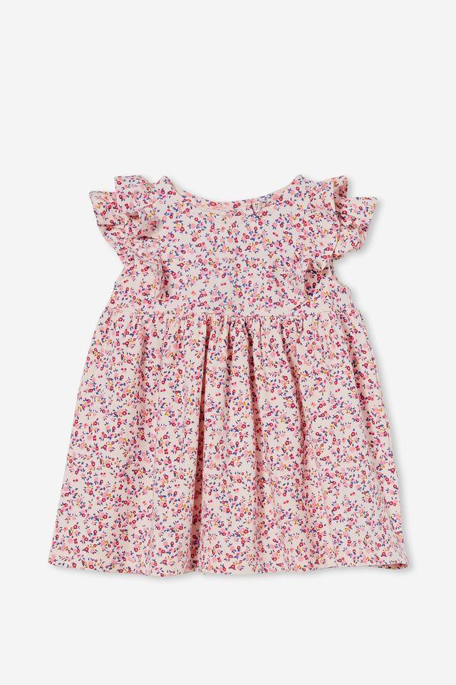 Megan Sleeveless Ruffle Dress, CRYSTAL PINK/FUSCHIA POP SOMERSET FLORAL
