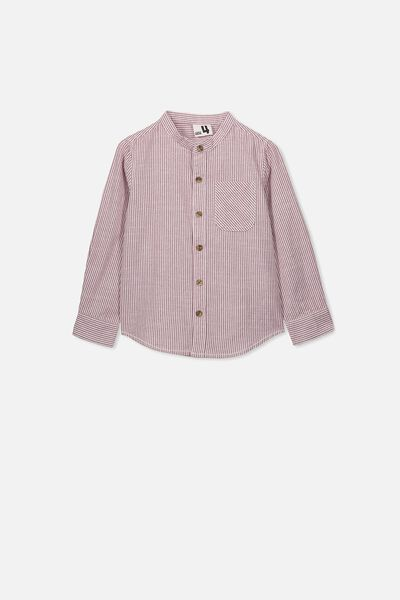 Grandpa Collar Prep Shirt, VINTAGE BERRY/WHITE STRIPE