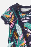 Mini Snug Short Slv Zip Through Romper, VANILLA/PEACOAT TROPICAL BIRDS
