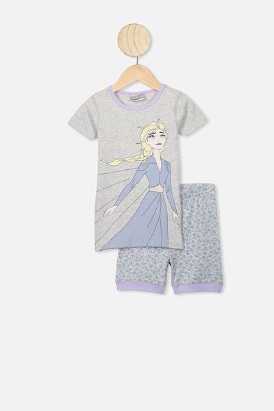 Nikki Short Sleeve Pajama Set, LCN DIS FROZEN ELSA/SUMMER GREY MARLE