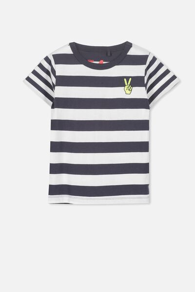 Max Short Sleeve Tee, NAVY/STRIPE PEACE SIS