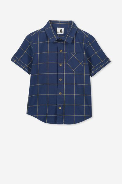 Resort Short Sleeve Shirt, NAVY WINDOW PANE CHECK