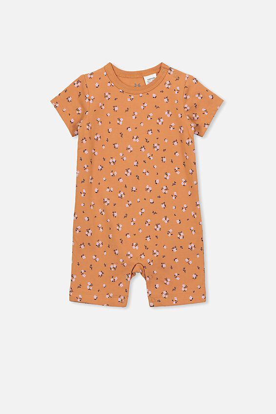The Short Sleeve Romper, TERRACOTTA RUST/LUCY FLORAL