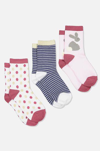 Kids 3Pk Crew Sock, PINK BUNNY