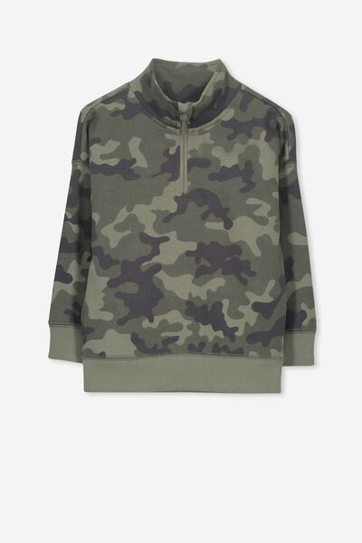 Lachy Crew Sweater, CAMO/ZIP NECK