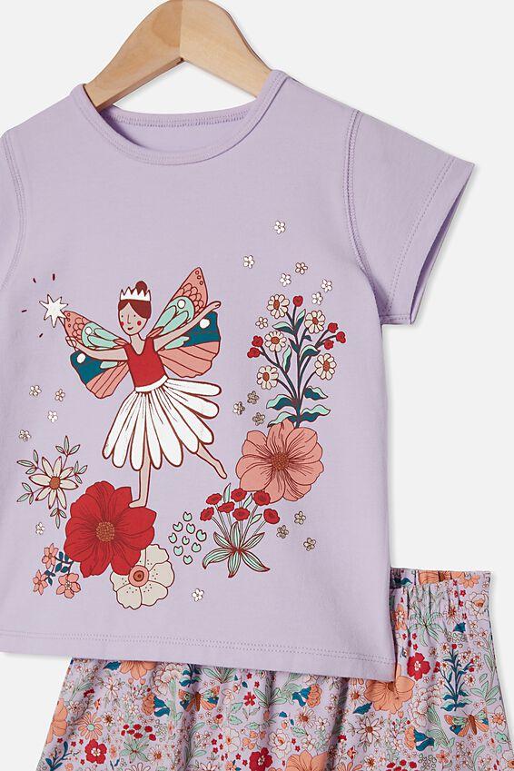 Harpa Short Sleeve Pyjama Set, GARDEN FAIRY VINTAGE LILAC