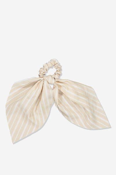 Scarf Scrunchie, WHITE /NATURAL STRIPE