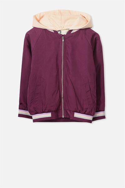 Gemma Hooded Jacket, MAGENTA PURPLE/SHELL PEACH HOOD