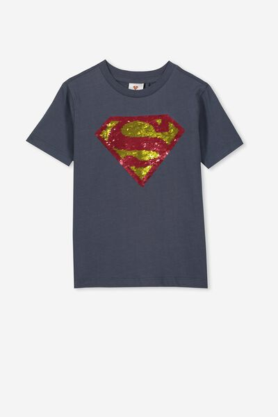 Co-Lab Short Sleeve Tee, LCN WB VINTAGE NAVY/SUPERMAN REVERSE