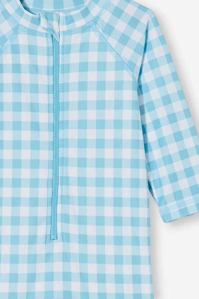Cameron Long Sleeve Swimsuit, BLUE ICE/VANILLA DYLAN GINGHAM