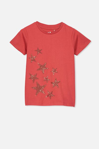 Stevie Ss Embellished Tee, LUCKY RED/GLITTER SEQUIN STARS/MAX